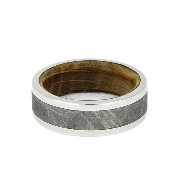 8 mm Titanium with Gibeon Meteorite and Whiskey Oak Wood - WBM649M