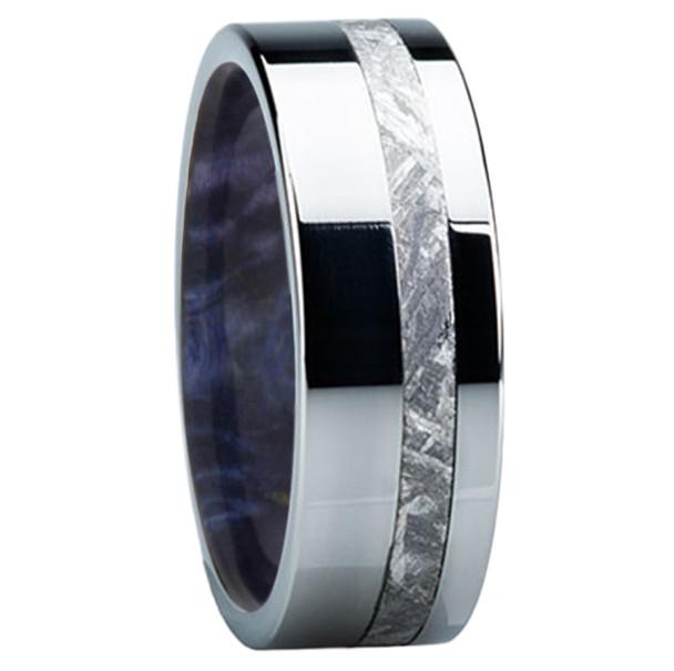 8 mm Meteorite Mens Wedding Bands in wood/Titanium - E118M-Blue