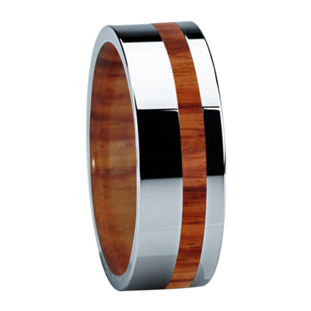 8 mm Titanium Band with Tulip Wood & Sleeve - B122M-Tulip-Sleeve