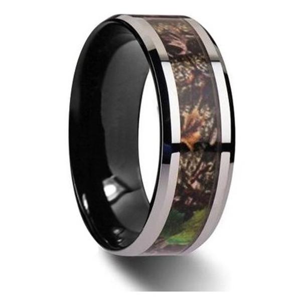 8 mm Mens Wedding Bands, Camo Inlay Tungsten - M111C