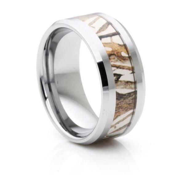 9 mm Mens Wedding Bands, Camo Inlay Tungsten - C555C