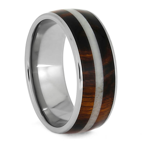 8 mm Titanium with Honduran Rosewood and Antler Inlay - HRW673M