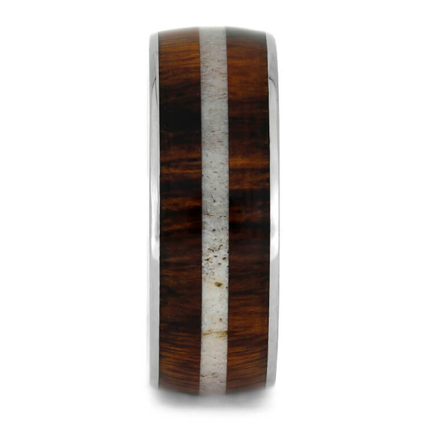8 mm Titanium with Honduran Rosewood and Antler Inlay - HRW673M