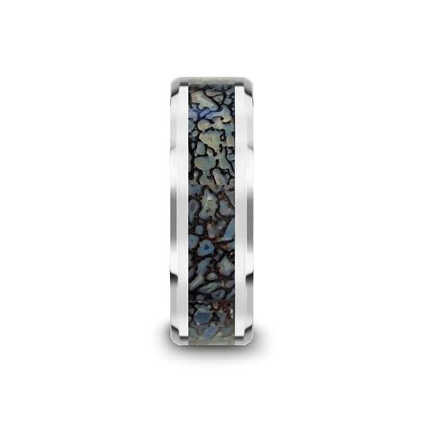 8 mm Tungsten Blue Dinosaur Bone Wedding Band - D810TR