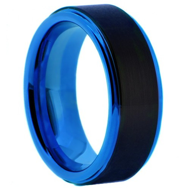 8 mm Black/Blue Tungsten Wedding Bands - BB707WG
