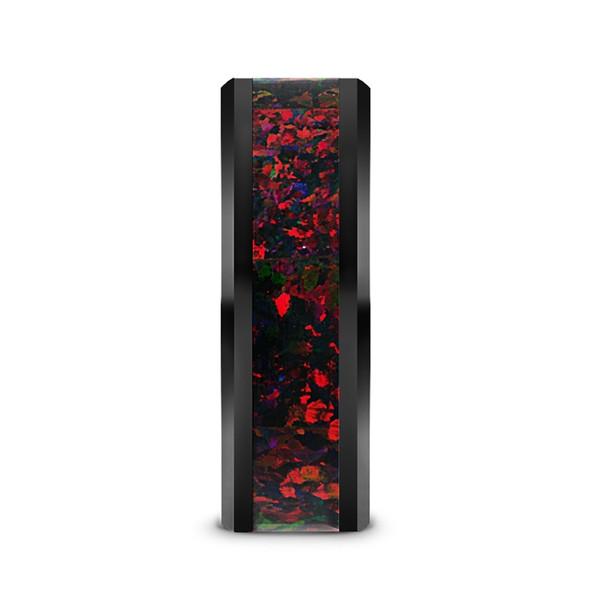 8 mm Black Ceramic Black/Red Opal Band - M960TR