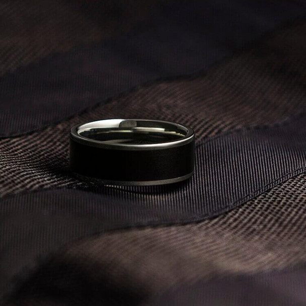 8 mm Unique Mens Wedding Bands - Vinyl LP Record Inlay - V838M