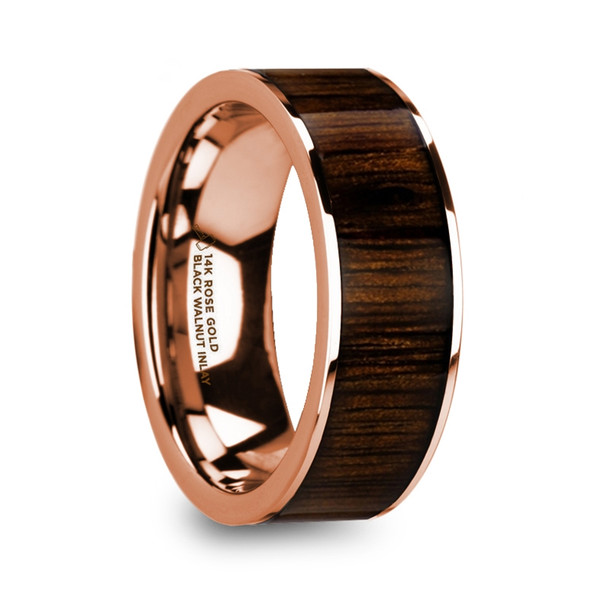 8 mm Black Walnut in 14 Kt. Rose Gold - M959TR