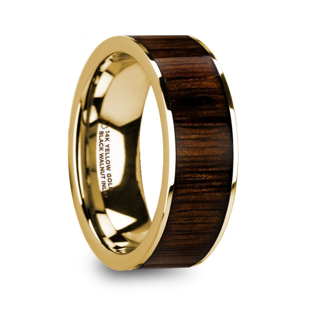 8 mm Black Walnut in 14 Kt. Yellow Gold - BW166TR