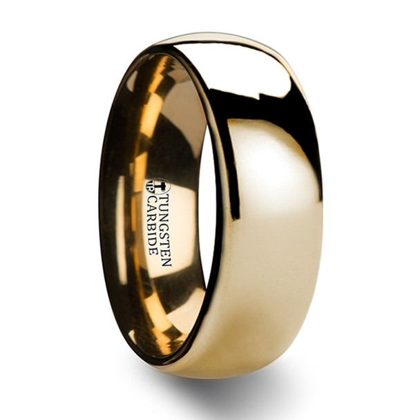 8 mm Domed Gold Tungsten Band, Lifetime Warranty - O967TR