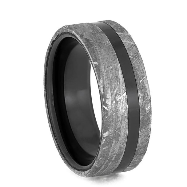 8 mm Mens Wedding Bands with Black Ceramic/Meteorite - BC934M