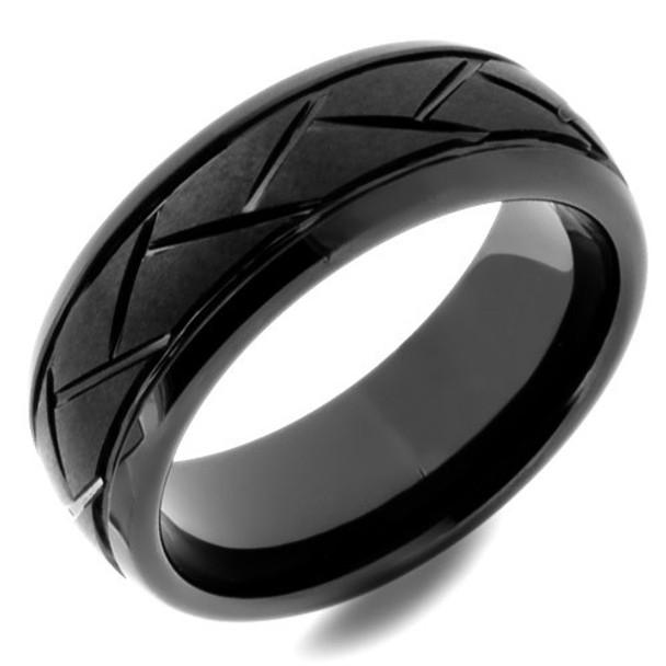 8 mm Black Ceramic Grooved Wedding Band - BC567WG