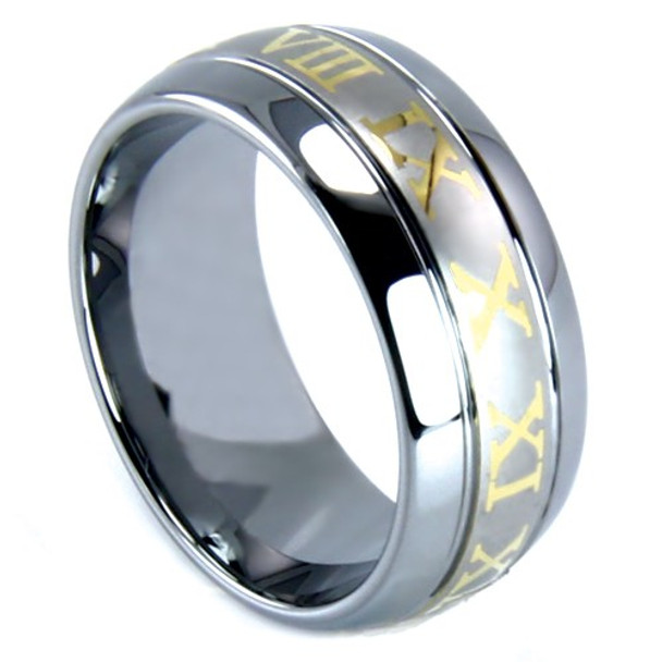 8 mm Tungsten Band with Gold Roman Numerals - RN148WG
