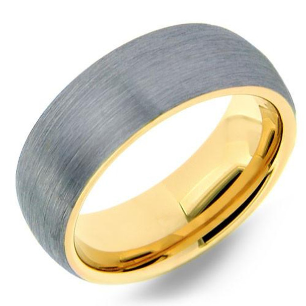 8 mm Brushed Tungsten Band with Yellow Gold Sleeve - YG804WG