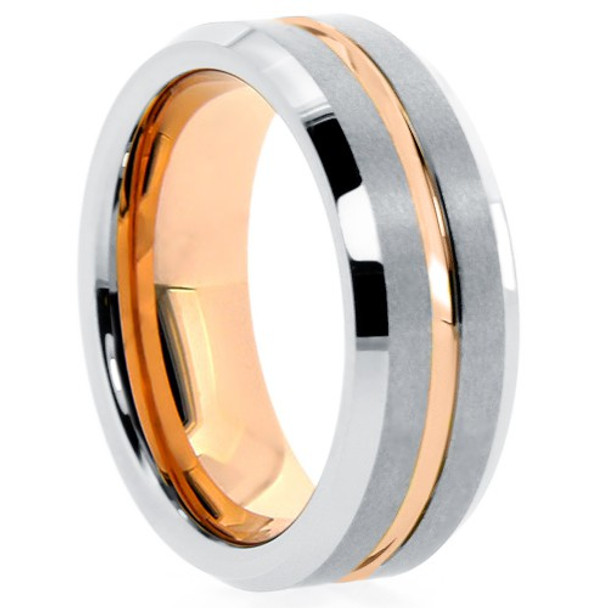 8 mm Matte Finish Tungsten Band with Rose Gold Sleeve - RG709WG