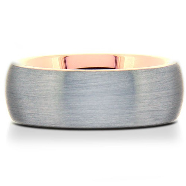 8 mm Brushed Tungsten Band with Rose Gold Sleeve - RG805WG