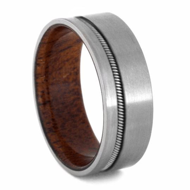 8 mm Mens Wedding Bands - Mahogany Sleeve/Guitar String - GS992M