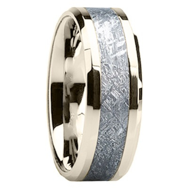 8 mm Mens Wedding Bands with 14 kt. White Gold/Meteorite - WG119M