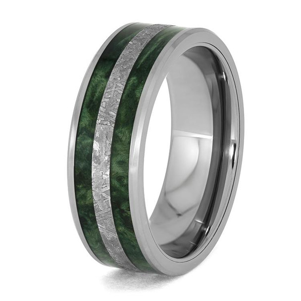 8 mm Meteorite and Green Box Elder in Tungsten - G956M