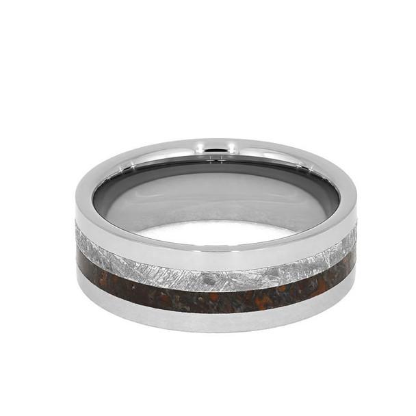 8 mm Meteorite/Dinosaur Bone in Tungsten - DB013M