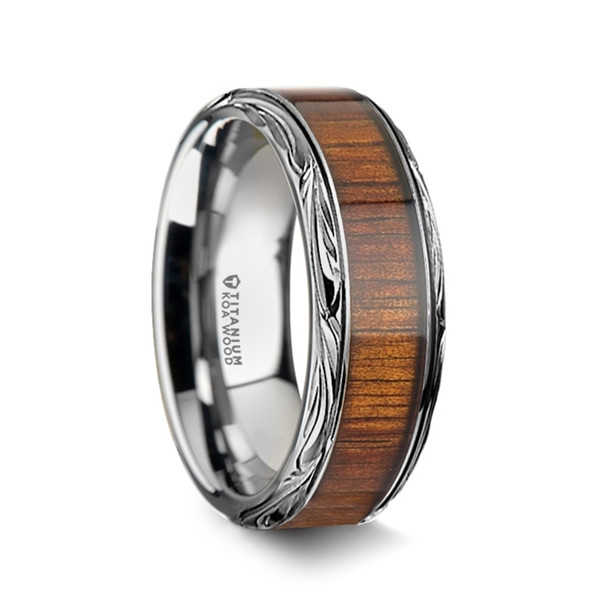 8 mm Unique Bands -  KOA Wood Inlay - K013TR
