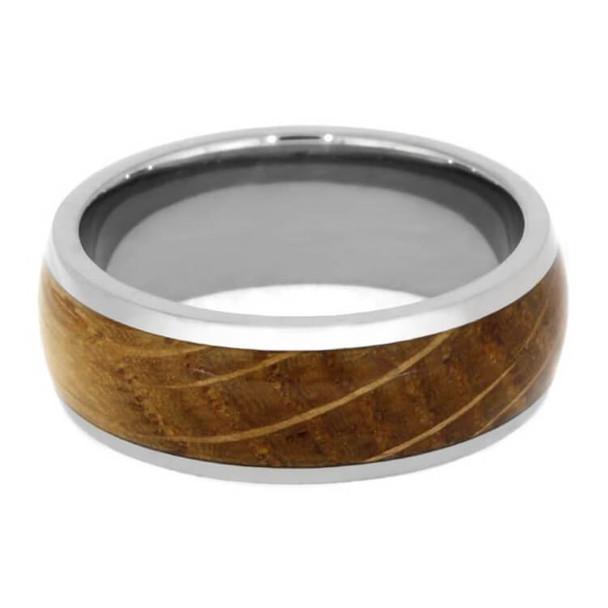 8 mm Unique Mens Wedding Bands Whiskey Barrel Inlay - WB029M