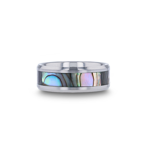 8 mm Tungsten Mother of Pearl Inlay Wedding Band - M661TR