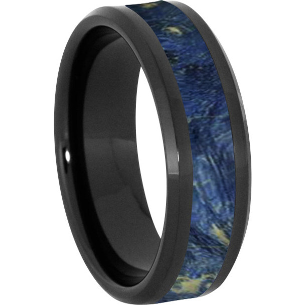 8 mm Wood Mens Wedding Bands/Blue Inlay - BC121M-BBE4
