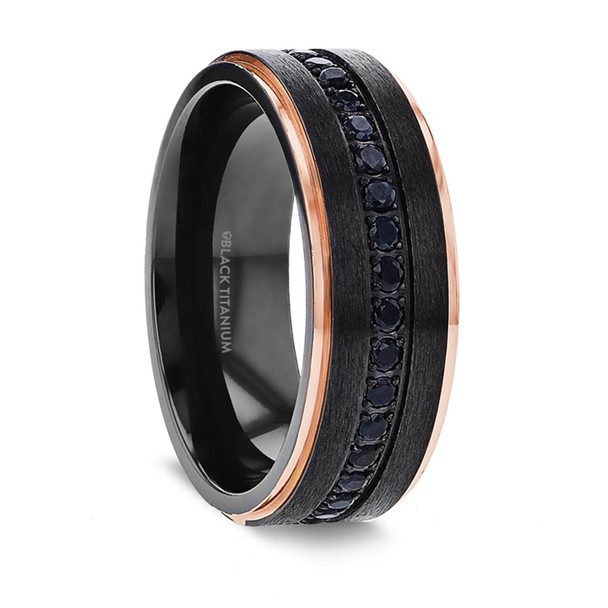 8 mm Infinity Black Sapphires Design with Rose Gold Inlay, Black Titanium - B266TR