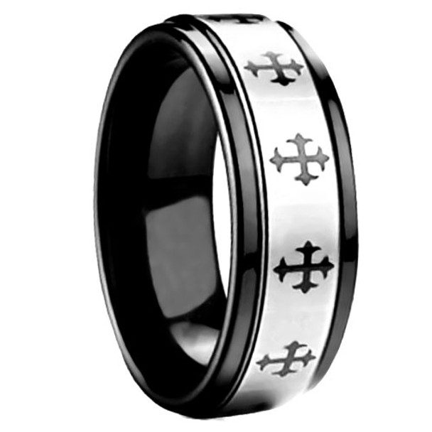 8 mm Black Tungsten Band with Cross Pattern Design - G603WG
