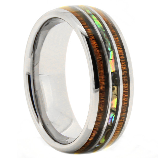 8 mm Tungsten with KOA Wood and Abalone Shell- A405WG
