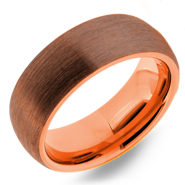 8 mm Brown Tungsten Band with Rose Gold Sleeve - BT807WG
