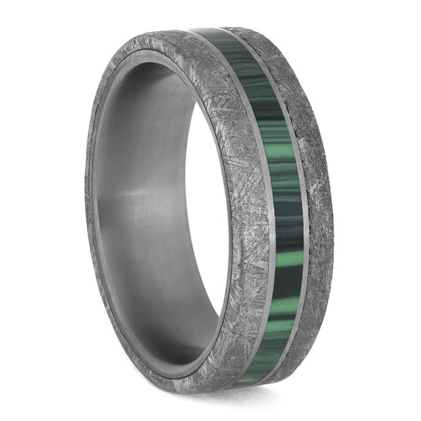 7 mm Meteorite with Green Malachite/Titanium - MM218M