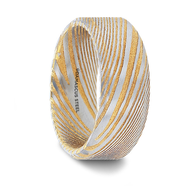 8 mm Damascus Steel in Gold Pattern Wedding Bands - J252TR