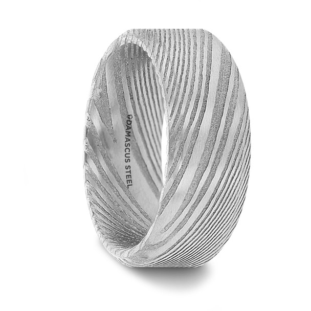 8 mm Damascus Steel in Silver Pattern Wedding Bands - G250TR