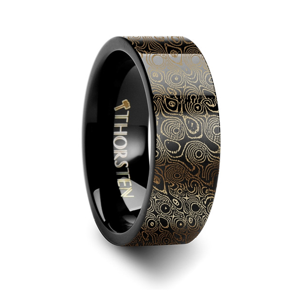 8 mm Black Tungsten & Damascus Steel Engraving - C415TR