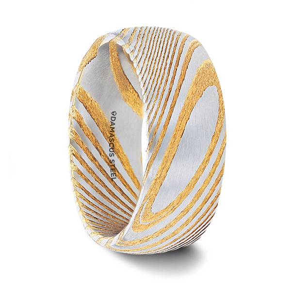 8 mm Domed Damascus Steel & Gold Pattern Wedding Bands - C251TR