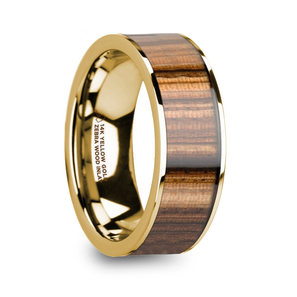 8 mm Zebra Inlay in 14 Kt. Yellow Gold - Z918TR