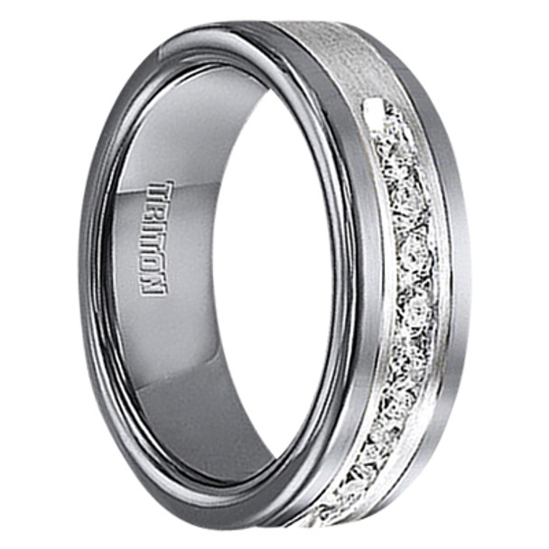12 Cwt Diamond Unique Mens Wedding Bands In Sterling Silver Tungsten A388c