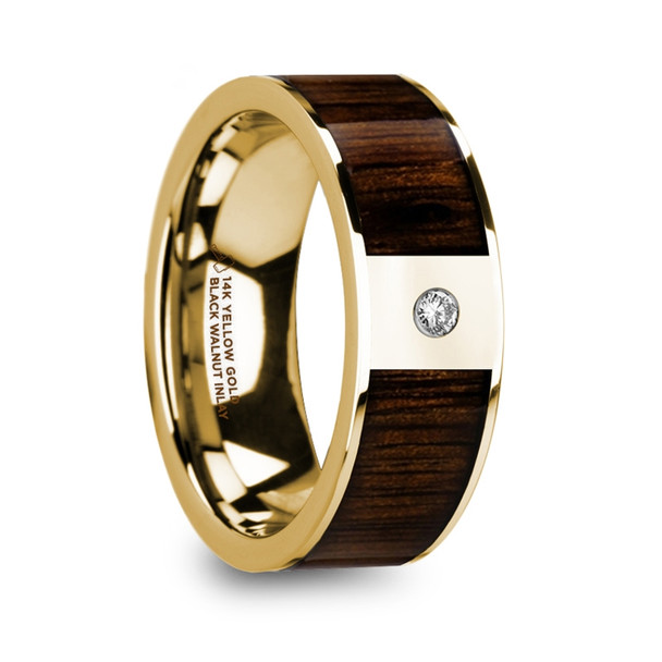8 mm Black Walnut Inlay in 14 Kt. Yellow Gold and Diamond - PA215TR