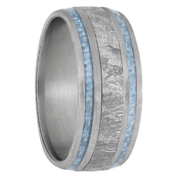 9 mm Meteorite, Mens Wedding Bands, Brushed Titanium - MB740FS