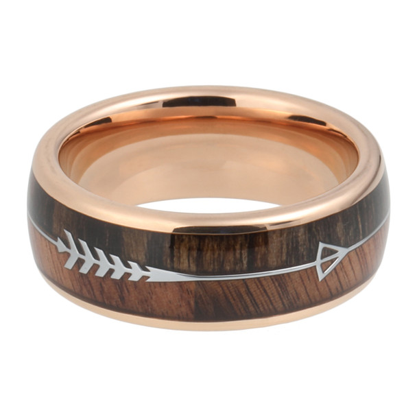 8 mm KOA/Zebra Arrow Design with Rose Gold Sleeve in Tungsten - A090C