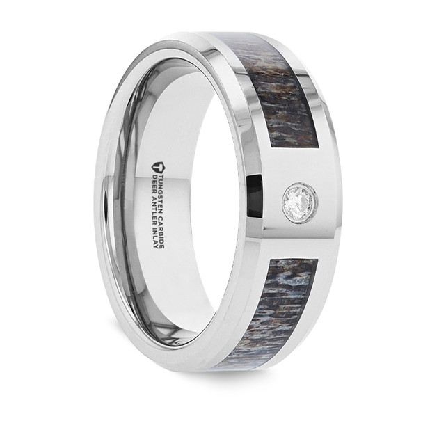 8 mm Tungsten Band with Antler & Diamond - C334TR