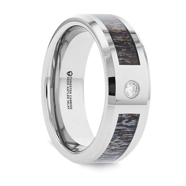 8 mm Tungsten Band with Antler & Diamond - C334TR