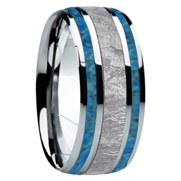 9 mm Meteorite/Turquoise, Mens Wedding Bands - T740FS