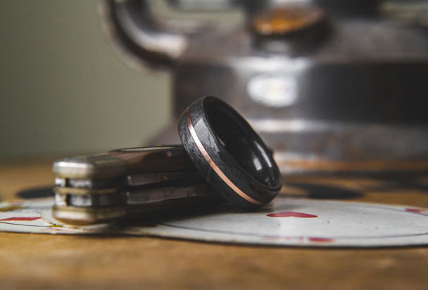 8 mm Bird's Eye Maple and Copper Inlay Bentwood Ring - BW303