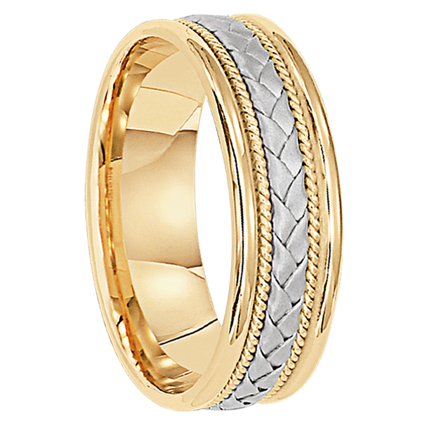 6 mm Two-Tone Gold Mens Wedding Bands in 18kt. Gold - Madrid 18