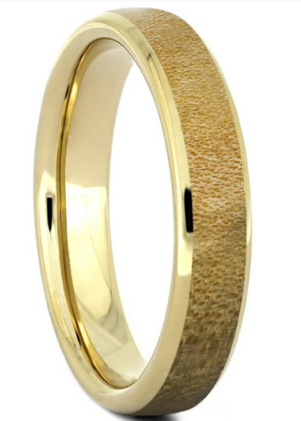 4 mm Unique Mens Wedding Bands - 14 Kt. Gold & Maple Wood - B788M