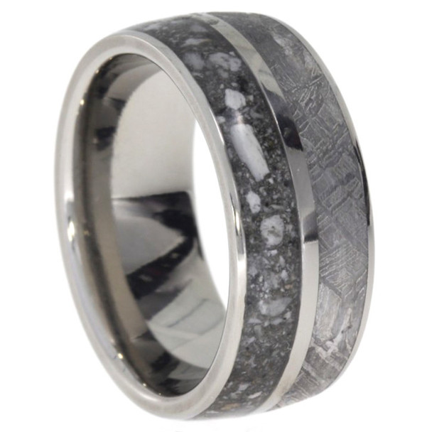 8 mm Memorial Wedding Band in 10 Kt. Gold with Pet Ashes & Meteorite - PMG522M