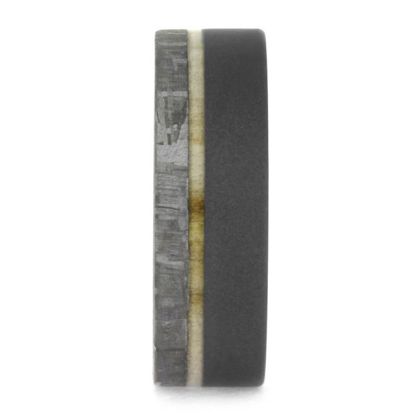 7 mm Meteorite with Aspen Wood Sleeve in Sandblasted Titanium - AW608M